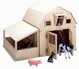 Gable Barn w/ Animals & Side Stall